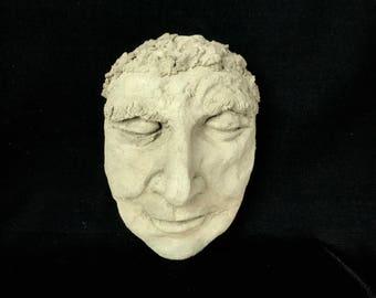 I Am Thinking - Original Concrete Sculpture   Hand Sculpted Garden Face Peacefully Sleeping   Home and Garden Decor   Rock Face Sculpture