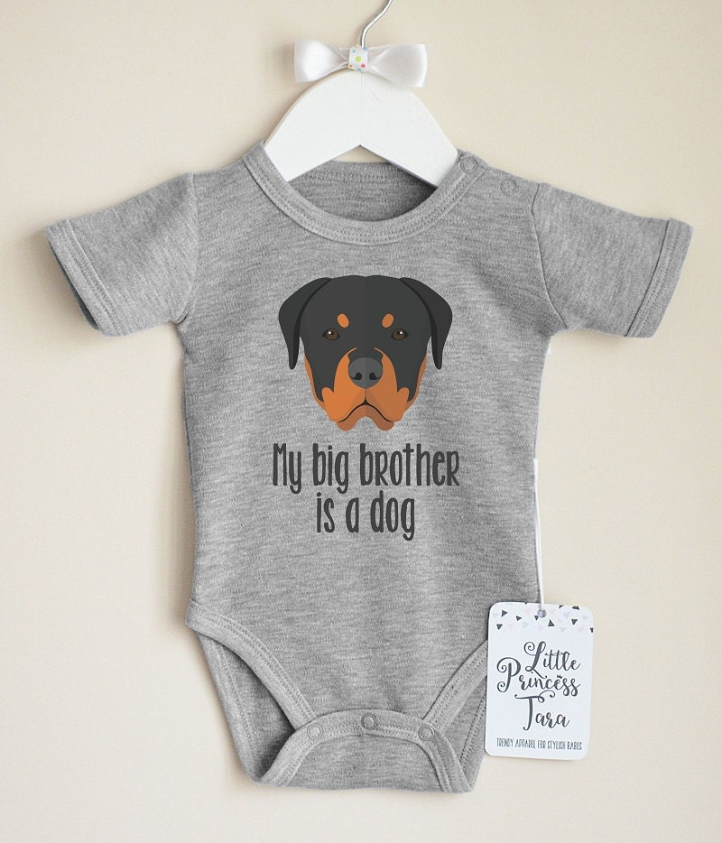 Rottweiler Baby Shirt My Big Brother Is A Dog Baby Clothes