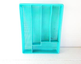 Vintage Large Turquoise/Aqua Plastic Silverware/Flatware Divider Drawer Organizer Tray