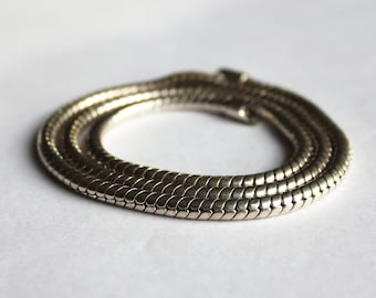 Vintage Sterling Silver 3mm Round Snake Chain Necklace