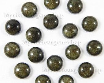 10 piece lot golden sheen obsidian round shape loose gemstone cabochon