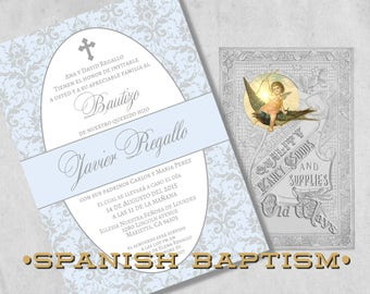 Baby Boy Baptism Invitations in Spanish - Blue and Silver Grey Damask - Bautizo Invitación for a Boy -  Elegant Printed Baptism Invitations