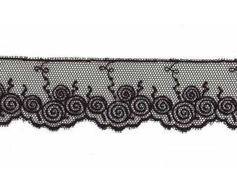Lace Valencian embroidered on black tulle by the yard