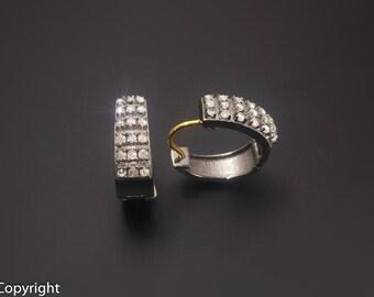 Diamond Hoop Earrings - Hoop Earrings silver - 925 Sterling Silver - Pave Hoop Earrings - Pave Diamond Earrings - Good for all sizes!