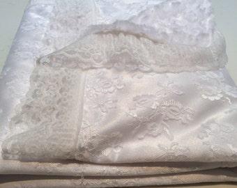 White bridal lace blanket