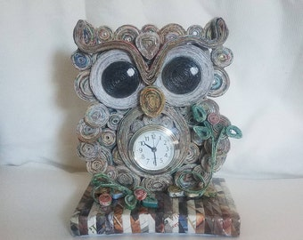 Re-purposed Paper Owl Clock
