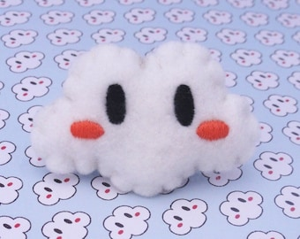 Embroidered white cheeks cloud ring Orange