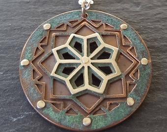 SALE - Mandala Pendant - handcut sterling silver, oxidised copper - handcrafted geometric pendant