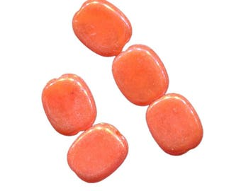 Set of 15 puck beads 13mm rectangular acrylic colorful iridescent AB (Aurora Borealis) ACRE13 orange