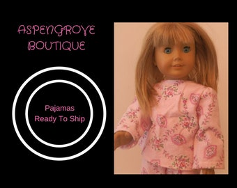 18 inch doll handmade pink floral flannel pajamas Ready to ship