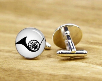 horns cufflinks, custom musical instrument cufflinks, tuba cufflink, groomsmen cufflinks, tie clip or a matching set, custom wedding