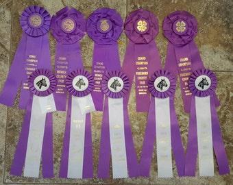 1980s purple grand champion horse show ribbons