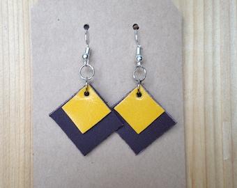 Layered Leather Handmade Geometric Earrings