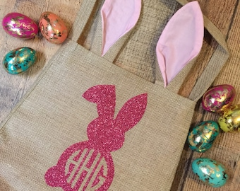 Personalized Easter Bunny Bags - Monogram Easter Basket -  Personalize Bunny Sack - Reusable Easter Basket - Monogrammed Easter Basket