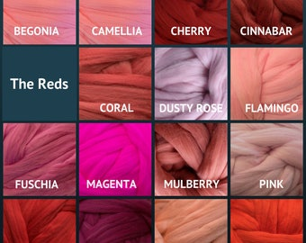 Merino Wool Roving - Felting Fiber - Spinning Fiber - The Reds - sold by the ounce