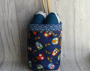 Cute Owls & blue flowers, Drawstring knitting project bag, Reversible, perfect for knitting, crochet, weaving, embroidery, craft, dice