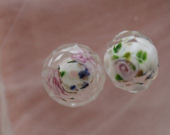 Pink white flower lampwork glass bead