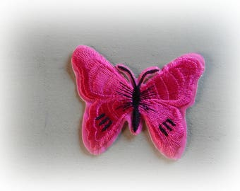 1 patch fusible patch / applique Butterfly in shades of pink and black 5.5 * 7 cm
