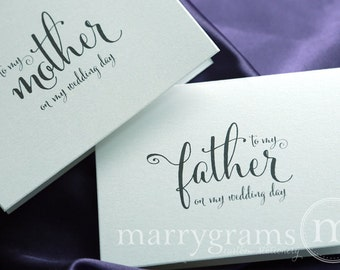 Wedding Card to Your Mother and Father - Parents of the Bride or Groom Cards - On My Wedding Day - Stepmother or Stepfather (Set of 2) CS07