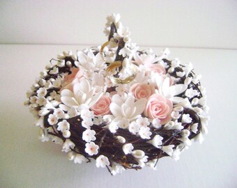 Blush Wedding Ring Pillow Nest Spring Ring Bearer Handmade Clay Flowers Rose Tuberose Pearls