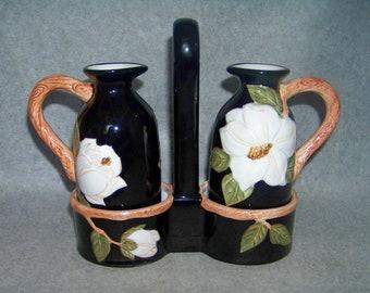Artimino Magnolia Charm Magnolia on Black Oil and Vinegar Cruet with Holder