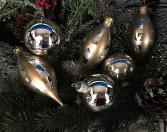 Vintage Christmas, 1940s Christmas, Silver/Gold, Set/6, Christmas, Shiny Brite, Christmas Decor, Vintage Ornament, Glass Ornament, Ornaments