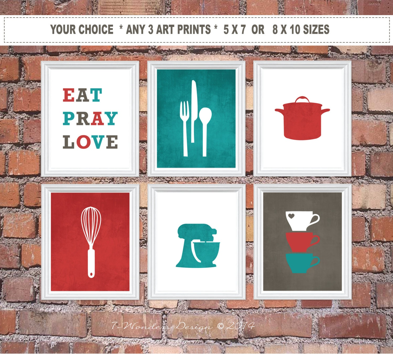Modern Kitchen Art Set: Kitchen Art Print Set Eat Pray Love Utensil Appliance