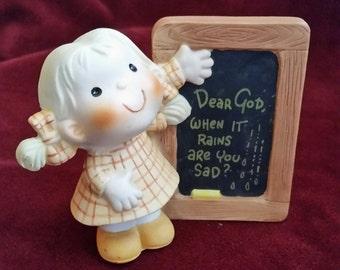 Enesco Dear God Kids When It Rains Are You Sad? Figurine/Dear God Kids Figurine/Kids With Signs Figurine/Girl Figurine/Anne Fitzgerald
