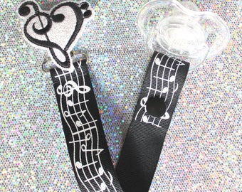 I love music Pacifier Clip Paci Soother Mam Nook Dummy Binky Holder musician new baby shower gift sheet music lover heart clef LOOP OR SNAP