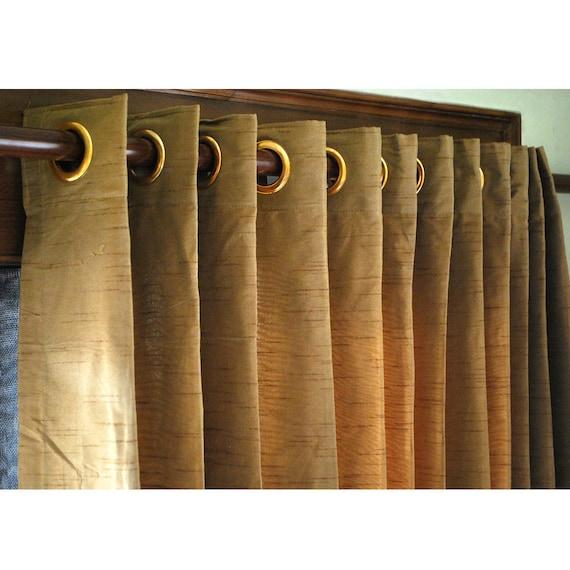 gold brown silk curtain panels 52x96 grommet. Black Bedroom Furniture Sets. Home Design Ideas
