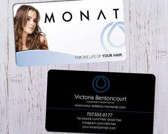 Monat Business Cards - Sleek White Picture Ft with Black & Blue Bk - Durable 16pt - Rich Matte Finish -PRINTED and SHIPPED directly to YOU!