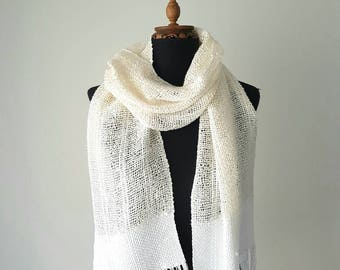Handwoven scarf - women summer accessory - bridal cover ups - knitted cotton scarf - unisex scarf - woven scarf - summer scarf - knit scarf
