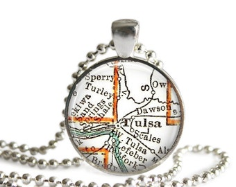 Tulsa map necklace charm, Oklahoma Jewelry map necklace pendant. Available as Dad Keychain, Keychain Gifts for Him or Charm for Her, A273