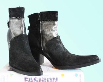 Vintage Mint Condition Black Suede Chelsea Boots Ankle Cowboy Western Silver Metallic Leather VTG