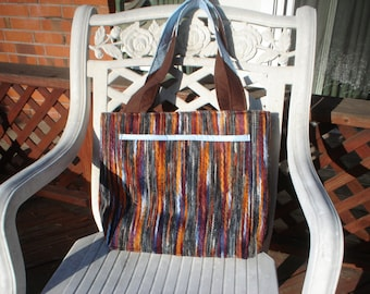 Brown and Rust Handle Bag with Blue Trim