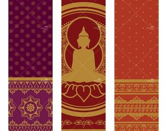 Golden Buddha Tall Ornaments - Printable Digital Sheet
