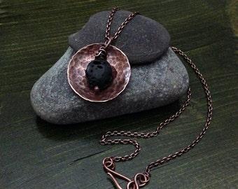 Copper Hand-forged Lava Stone Essential Diffuser Necklace