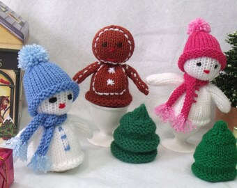 Christmas egg cosy. Knitting pattern. Christmas decoration. PDF instant download  knitting pattern.