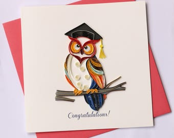 Owl Quilling Greeting Card, Quilling Cards, Graduation Card, Greeting Cards, Handmade Greeting Card, Handmade Card