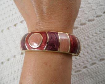 Beautiful Gold Tone Multi Color Enamel Bangle Bracelet