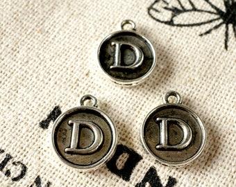 Alphabet letter D charm silver vintage style jewellery supplies