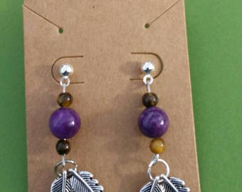Native American Inspired Earrings with Brown Quartzite, Purple Quartzite, and Silver Feather Charms