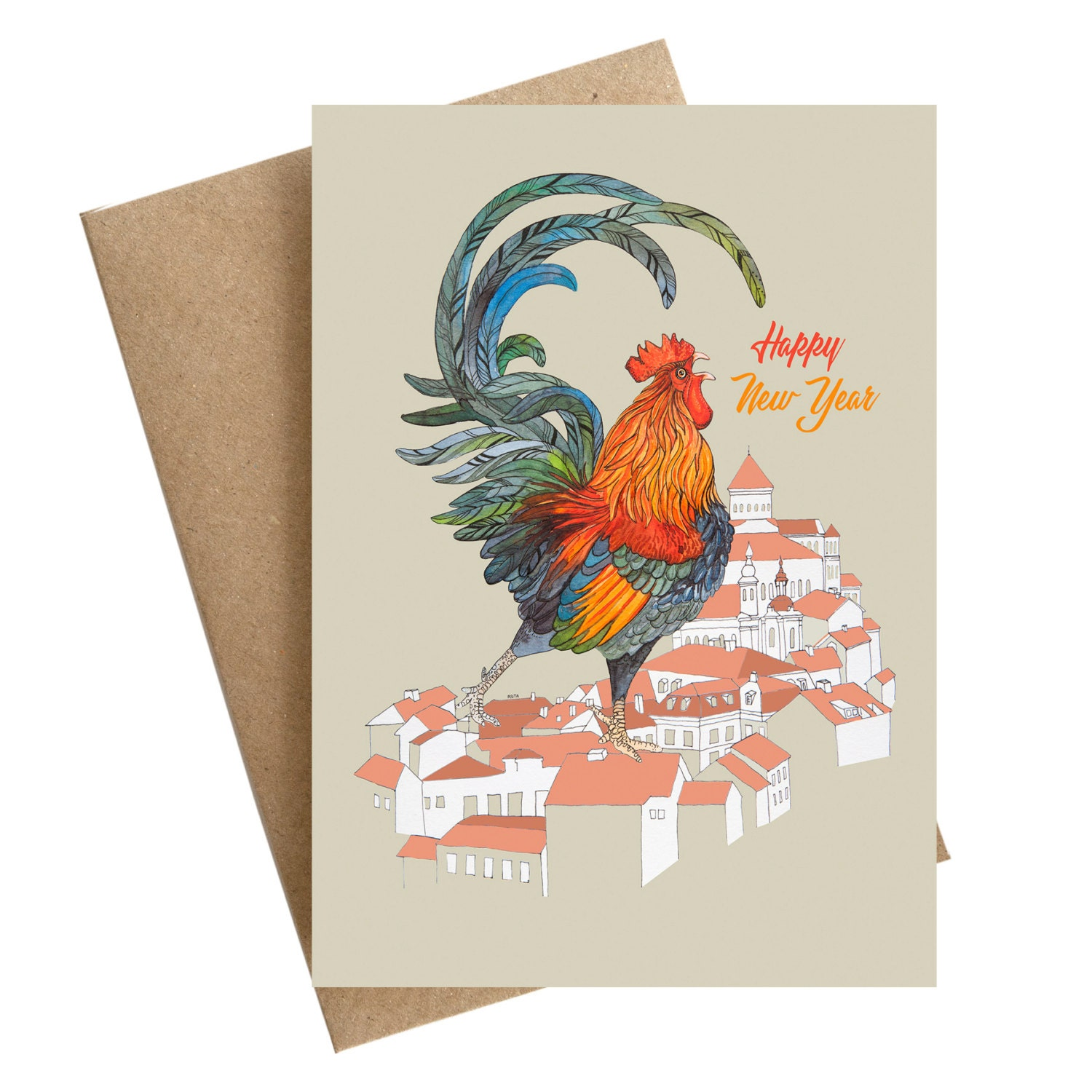 Happy New Year Rooster Greeting Card Bird Chicken Cute Animal