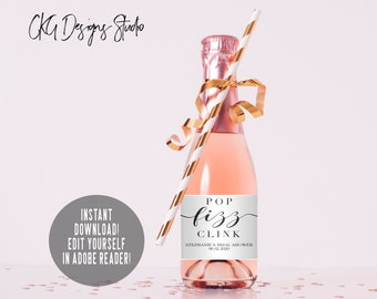 Mini Champagne Bottle Labels, Bridal Shower Favor, Mini Champagne Labels, Printable Wine Labels, Mini Champagne Bottle Labels Template