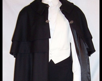 Gentlemen's Opera Cape Virgin Wool 2 Capelets 2 Clasps Fully Lined Black Satin Cloak with Collar Men's S to XXL Walking Length