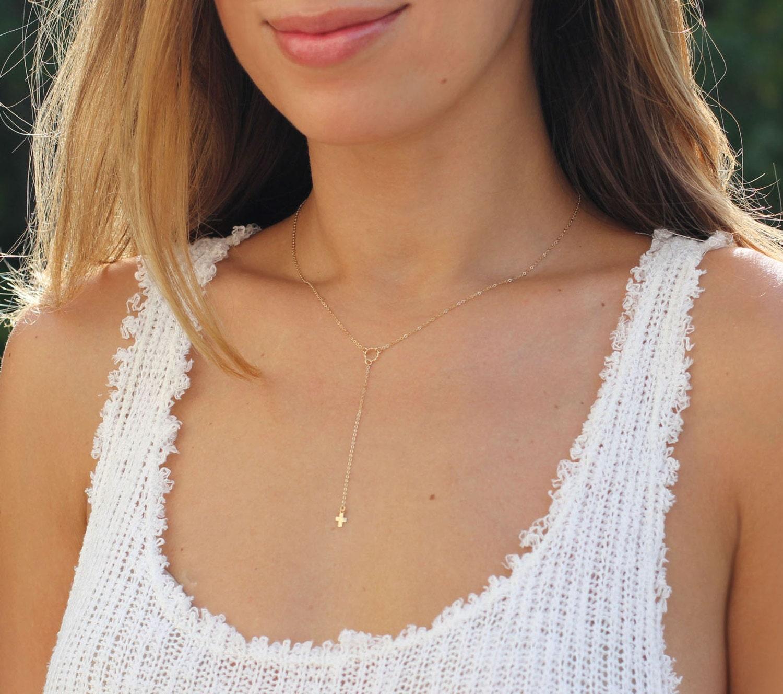 Greatest Tiny Gold Cross Lariat Dainty Cross Necklace Minimal EZ64