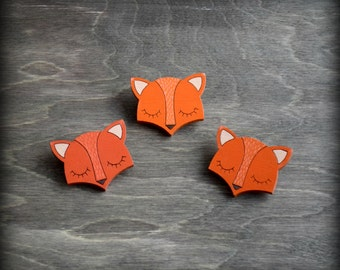 FREE SHIPPING Wooden painted brooch little dreamy fox. Orange color.