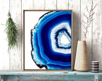 Turquoise Blue Agate Slice Poster, Geode Art, Agate Crystal Print, Mineral Photography, Yoga Lover Gift, Meditation Art Yoga Studio Decor