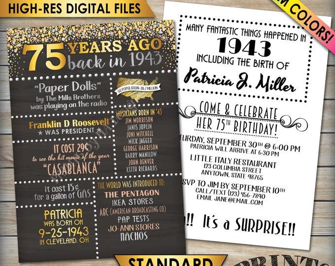 "75th Birthday Invitation, 1943 Invite, Born in 1943 Flashback 75 Years Ago, 75th Invite, 75th Bday 5x7"" Chalkboard Style Digital Printables"