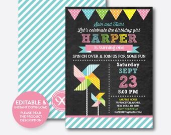 Instant Download, Editable Pinwheel Birthday Invitation, Pinwheel Invitation, Pinwheel Party Invitation, Girl Invitation,Chalkboard(CKB.08B)